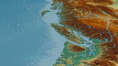 Glide over Coast mountain range - masks. Relief map Stock Footage