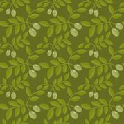 Seamless pattern Green olives, Olive endless background, texture, wallpaper Stock Illustration