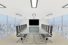 Stylish corporate conference table in a skyscraper office Stock Illustration