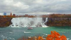 Ferry tour Niagara Falls Stock Footage