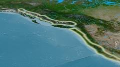 Zoom into Coast mountain range - glowed. Satellite imagery Stock Footage