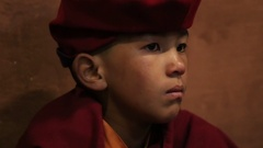 Buddhist young monk during Hemis Festival at Ladakh, North India Stock Footage