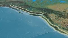 Zoom into Coast mountain range - glowed. Natural Earth Stock Footage