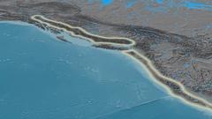 Zoom into Coast mountain range - glowed. Elevation map Stock Footage