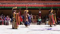Tibetan lamas in mystical mask dancing Tsam mystery dance , Ladakh, North India Stock Footage