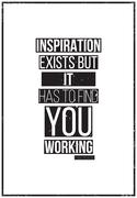 Inspiration exists but it has to find you working. Pablo Picass Stock Illustration