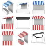 Market stand kiosk stall with striped awning for promotion sale Stock Illustration