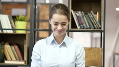 Agree, Woman Gesture of Yes, Shaking Head, Indoor Office Stock Footage