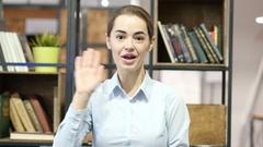 Hi, Hello, Woman Waving Hand, Indoor Office Stock Footage
