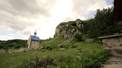 The Monastery of Buchach in the large rock Stock Footage