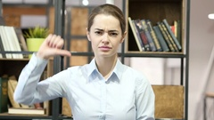 Thumbs Down By Beautiful Woman, Indoor Office Stock Footage