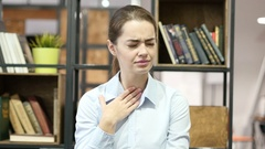 Coughing Sick Woman, Cough, Office Indoor Arkistovideo