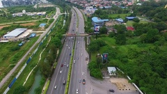 PENANG, MALAYSIA October 15, 2016: Aerial: Traffic in George Town. Stock Footage