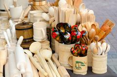Wooden kitchen utensils Stock Photos