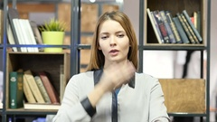 Flying Kiss by Young Woman, Indoor Office Stock Footage