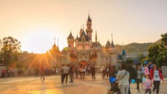 HongKong Disneyland Castle 4K Time Lapse Day to Night (zoom in) Stock Footage