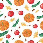 Autumn Harvest Seamless Pattern Illustration Stock Illustration