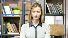 Portrait Of  Beautiful  Woman, Indoor Office Stock Footage