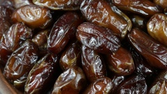 Dried date fruit rotates , close up Stock Footage