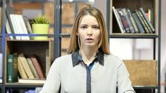 Shock, Upset Business Woman, Indoor Office Stock Footage