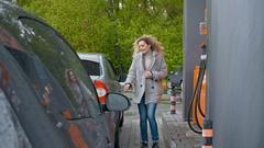 Woman at Gas Station Arkistovideo