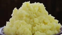 Ukrainian national food is mashed potatoes in plate, close up Stock Footage