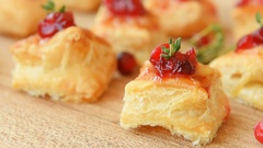 Homemade christmas cranberry and cheese bites Stock Footage