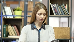 Woman Talking On Smartphone, Indoor Office Stock Footage