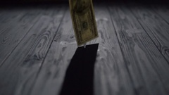 Falling Dollars Banknotes on Blue Table Stock Footage