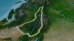 Revolution around Columbia mountain range - glowed. Satellite imagery Stock Footage