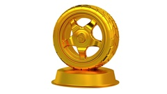 Wheel Car trophy in Gold with white background Stock Footage
