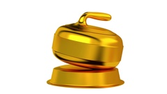 Curling trophy in Gold Turning with white background Stock Footage