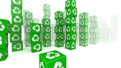 Ride through Green Boxes with Recycle Sign Stock Footage