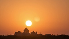 Gorgeous sunset at indian palace Stock Footage
