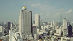 Flying over Bangkok, Lebua State Tower Aerial Stock Footage
