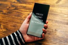 Wireless internet connection not available notification on smartphone Stock Photos
