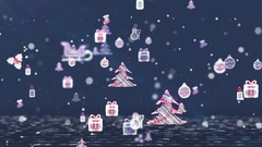 Christmas Icons Background - Blue. Stock Footage