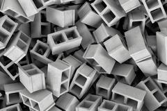 Rendering huge amount of gray cinder blocks lying together in disorder, top view Stock Illustration