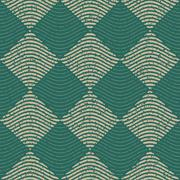 Vector Seamless Green Grey Color Hand Drawn Wavy Lines Rhombus Checker Retro Stock Illustration
