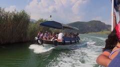 Sightseeing tour boat on the lake Dalyan Stock Footage
