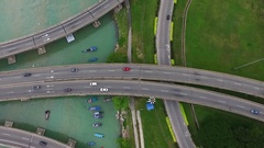 PENANG, MALAYSIA October 15, 2016: Aerial: Highway on Penang island. Stock Footage