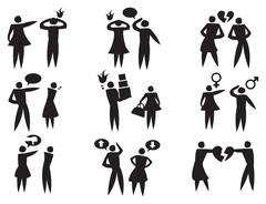 Disagreement Between Man Woman in Relationships Vector Icon Set Stock Illustration