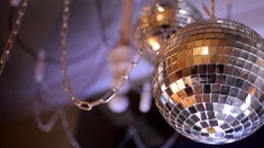 Mirror disco ball with light reflection on the ceiling Stock Footage