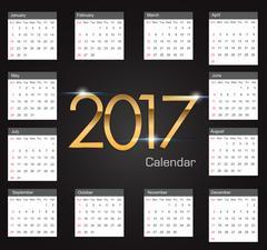 Gold 2017 luxury editable Calendar Stock Illustration