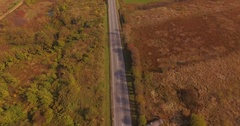 Empty road with occasional passing car in beautiful autumn surroundings Stock Footage