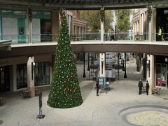 City shopping center mall Christmas tree fountain DCI 4K Stock Footage