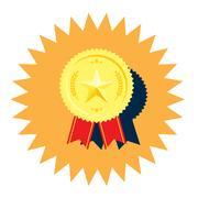 Golden medal with star vector Stock Illustration
