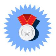 Silver medal with star vector flat icon Stock Illustration