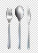 Stainless Cutlery Tableware Set Transparent Background Stock Illustration