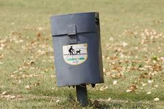 Colorful Wood Trash Bin in the park Stock Photos